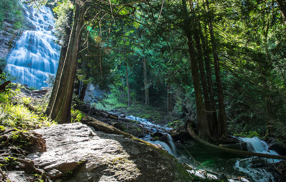 The beautiful Bridal Veil Falls, in the morning hours. British Columbia provincial park, Canada.