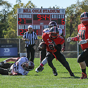 William Penn running back Kamau Floyd (6) finds a whole that leads to a touchdown in the second quarter Saturday, Oct. 10, 2015 at Bill Cole Stadium in New Castle, DE.