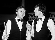 Two world champions from Northern Ireland: Dennis Taylor and Alex &lsquo;Hurricane&rsquo; Higgins at the Benson &amp; Hedges Irish Masters snooker tournament at Goffs, Kill, County Kildare. After making it through to the final several times, Higgins finally won the tournament in 1989.<br />1 May 1980