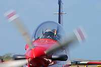 The pointy end of an RAAF Roulettes Pilatus PC-9 taxiing in after a display at the RAAF Air Pageant, Point Cook