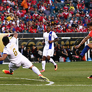 Chile Attacker EDUARDO VARGAS (11) kicks the ball  past Panama Midfielder GABRIEL GÓMEZ (6) in the 15th minute of the first half of a Copa America Centenario Group D match between the Chile and Panama Tuesday, June. 14, 2016 at Lincoln Financial Field in Philadelphia, PA.