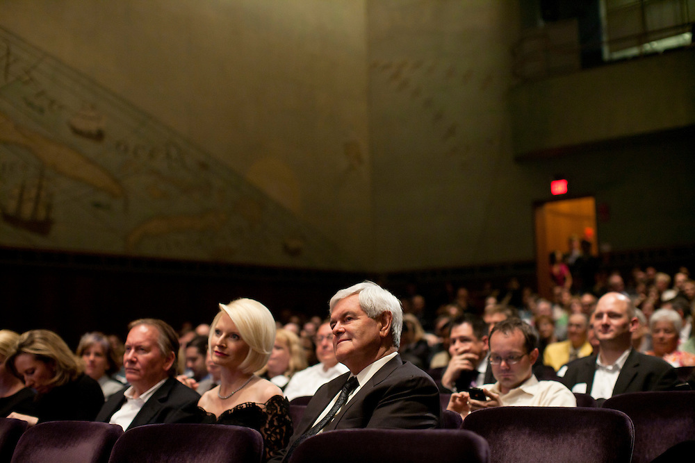 Callista Gingrich, third from left, wife of former Speaker of the House Newt Gingrich, fourth from left, attend a screening of the movie A City Upon A Hill, which the two of them host, on Friday, April 29, 2011 in Washington, DC.