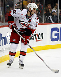 February 18, 2008; Newark, NJ, USA;  Carolina Hurricanes center Eric Staal (12) skates behind the Hurricanes goal during the second period at the Prudential Center in Newark, NJ.