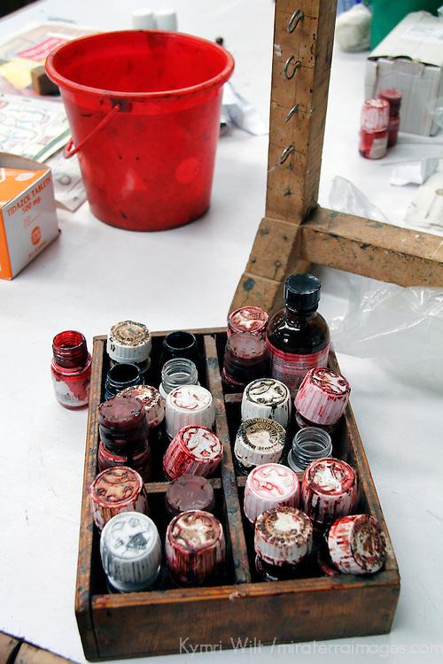 Africa, Kenya, Nairobi. Paints for clay beads at Kazuri bead making factory in Karen district of Nairobi.