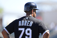 SURPRISE, AZ - MARCH 10:  Jose Abreu #79 of the Chicago White Sox looks on during the spring training game between the Kansas City Royals and Chicago White Sox on March 10, 2015 at Surprise Stadium in Surprise, Arizona. (Photo by Ron Vesely)   Subject:  Jose Abreu