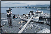 Two guys. And a dog waiting – for someone to throw the darn stick. #dailylife (Ediz Hook, Port Angeles WA