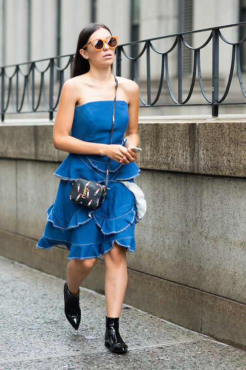 Denim Dress and Saint Laurent Bag, Outside BCBG