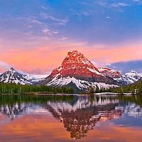 sinopah mountain glacier park, sunrise on sinopah glacier park, two medicine lake glacier park,