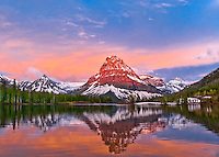 sinopah mountain glacier park, sunrise on sinopah glacier park, two medicine lake glacier park,