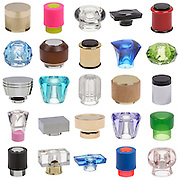 Catalogue shots of a range of bottle caps
