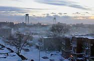 Winter sunset in Brooklyn NYC.