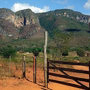Ranch (Brazil: fazenda)  gate in Brazilian  Highlands, Goiás State, Brazil