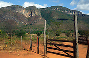 Ranch (Brazil: fazenda)  gate in Brazilian  Highlands, Goiás State, Brazil