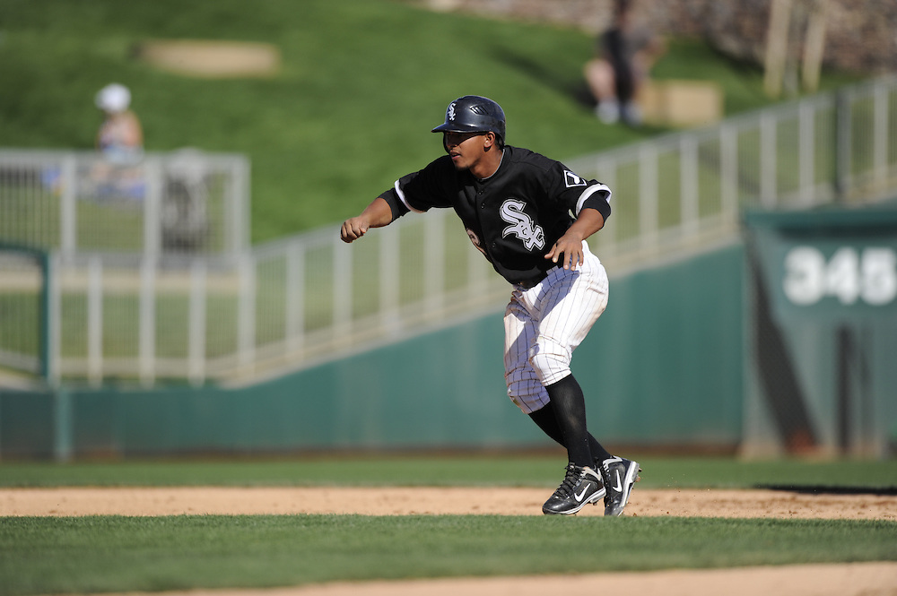 GLENDALE, AZ - MARCH 03:  Eduardo Escobar #62  of the Chicago White Sox runs the bases against the Seattle Mariners on March 03, 2011 at The Ballpark at Camelback Ranch in Glendale, Arizona. The White Sox defeated the Mariners 6-1.  (Photo by Ron Vesely)