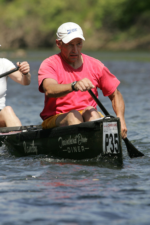 (Cooperstown to Bainsbridge, NY---26 May 2008) The 2008 General Clinton Regatta for Canoes held on 70 miles of the Susquehana River between Cooperstown and Bainsbridge, New York. The boat pictured is P35 RANDY MARTIN, SUSAN MORRIS