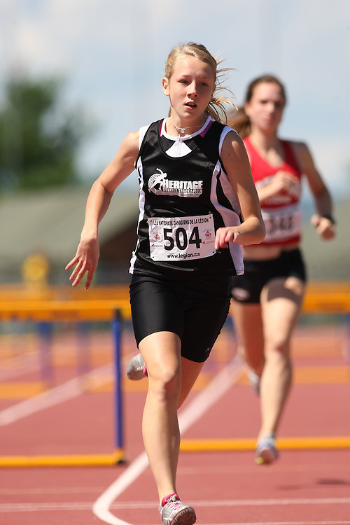 (Sherbrooke, Quebec---10 August 2008) Carly Howarth competing in the 400m hurdles at the 2008 Canadian National Youth and Royal Canadian Legion Track and Field Championships in Sherbrooke, Quebec. The photograph is copyright Sean Burges/Mundo Sport Images, 2008. More information can be found at www.msievents.com.