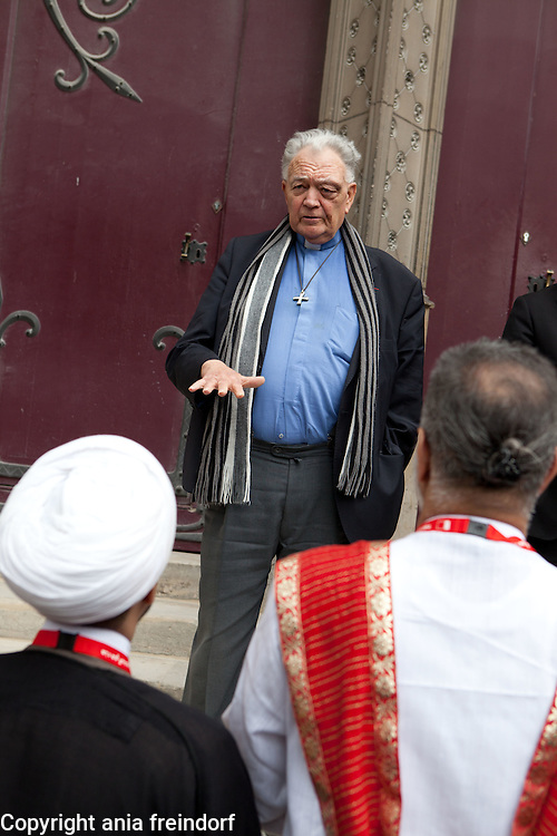 Patrick Jacquin, the rector of the cathedral, speaks before the religious delegation &quot;This is Bahrain&quot;, delegation during the visit of Notre Dame Cathedral.<br /> &quot;This Is Bahrain &raquo;, a multi-faith group of Bahrainis and expatriates, set up to highlight religious tolerance in Bahrain and promote<br /> understanding between cultures and faiths, is the brainchild of the Bahrain Federation of Expatriate Associations (BFEA).<br /> Paris, FRANCE - 15/06/2015.