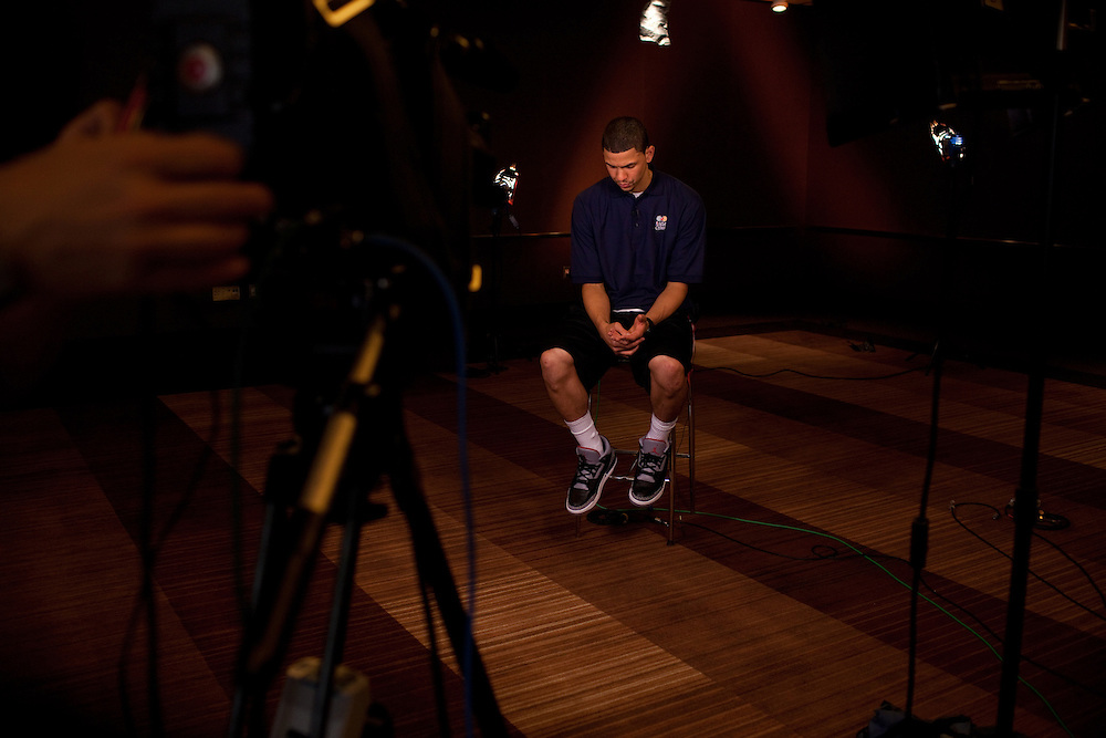 {June 27, 2012} {4:00pm} -- New York, NY, U.S.A.Duke basketball star Austin Rivers waits quietly for an ESPN interview at the Westin Hotel before the NBA draft Thursday in Manhattan, New York on June 27, 2012.