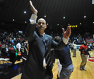 "Mississippi head basketball coach Andy Kennedy cheers towards the student section following the game against Mississippi State at the C.M. ""Tad"" Smith Coliseum in Oxford, Miss. on Wednesday, January 18, 2012. Mississippi won 75-68. (AP Photo/Oxford Eagle, Bruce Newman)."