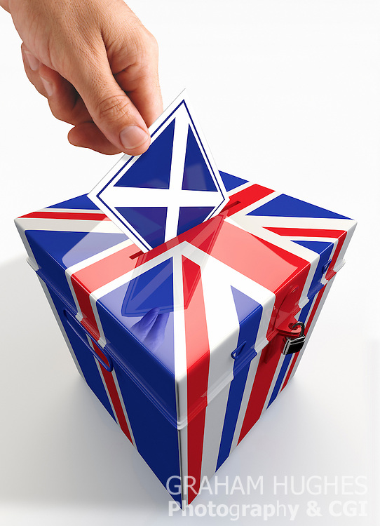 """Union Jack Scottish Vote Ballot Box, with male hand placing St Andrews Cross flag """"X"""" voting slip into hole in lid."""