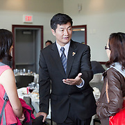 10/15/2012 - Medford/Somerville, Mass. - Dr. Lobsang Sangay, Sikyong (political leader) of the Central Tibetan Administration, greets students after giving a talk hosted by the Fletcher School of Law and Diplomacy at the Chase Center on Oct. 15, 2012. (Kelvin Ma/Tufts University)