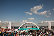 The altar where Pope Benedict XVI celebrates mass for thousands of people on the most important square in the country. The pope is on a four-day visit to Portugal, one of the countries with the highest percentage of Catholics in Europe, Lisbon, Portugal.