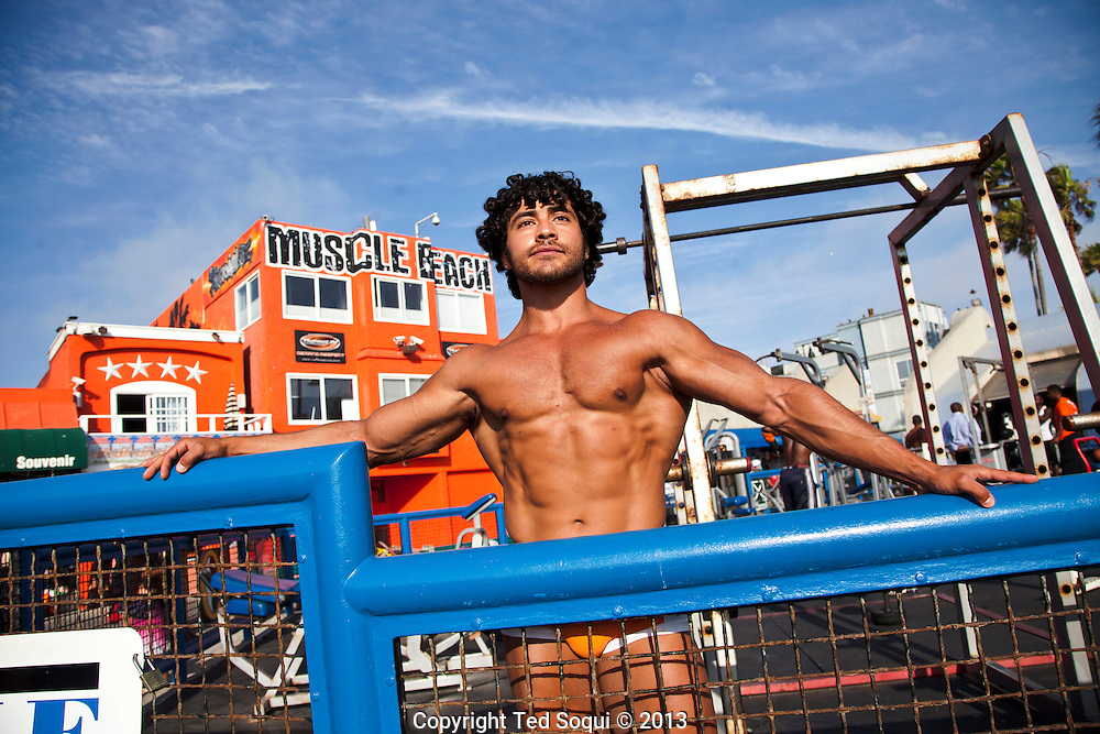 Muscle Beach at Venice with body builder Bishoy Hanna.<br /> Scenes on the boardwalk of Venice Beach in Los Angeles