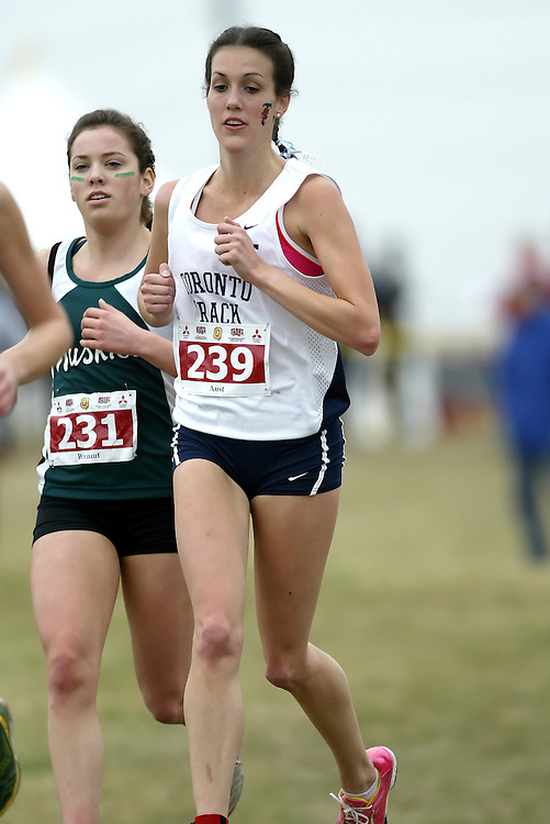 (Kingston, Ontario -- 14 Nov 2009)  CHARLOTTE AUST of the University of Toronto runs to 114 place at the  2009 Canadian Interuniversity Sport CIS Cross Country Championships at Forth Henry Hill in Kingston Ontario. Photograph copyright Sean Burges / Mundo Sport Images, 2009.