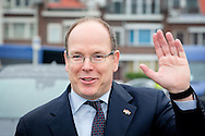 4-6-2014 THE HAGUE  -  Director Pieter van Oord Van Oord, Prince Albert II of Monaco and Theo Baartmans, board member Boskalis leave at the White Pavilion after a meeting with executives of the dredging companies.COPYRIGHT ROBIN UTRECHT