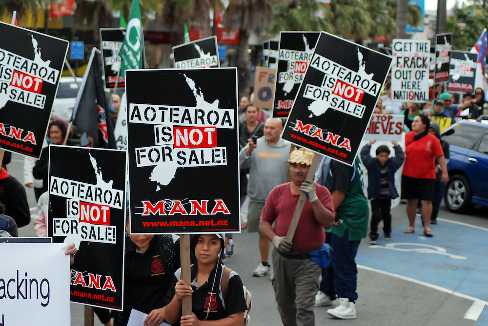 'Aotearoa is not for sale' marched from the town clock to Te Poho o Rawiri marae, Gisborne, New Zealand, Monday, April 30, 2012. Credit:SNPA / Aaron Kirk