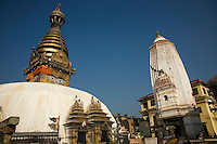 Swayambhunath Temple - one of the liveliest Buddhist temples in Kathmandu. Many Tibetans live in the area and make their daily 'kora' or procession around the temple turning prayer wheels as they pass.