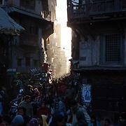 Evening light shining down the streets of  Kathmandu, Nepal