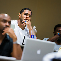 MIAMI, FL - June 24, 2015 -- NFL players participate in a Legal & Ethical Implications of Executive Decision Making class taught by Professor Patricia Abril at the University of Miami as part of their Miami Executive MBA for Artists & Athletes program on Wednesday, June 24, 2015.  (PHOTO / CHIP LITHERLAND)