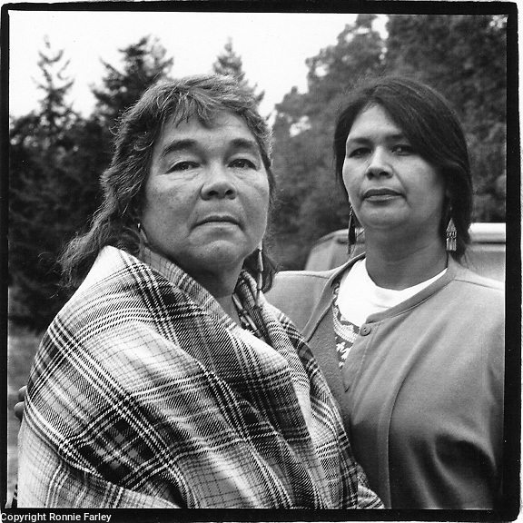 Tulalip Fishing rights activist Janet McCloud and niece Anita Paz, Yelm, Washington, 1991.