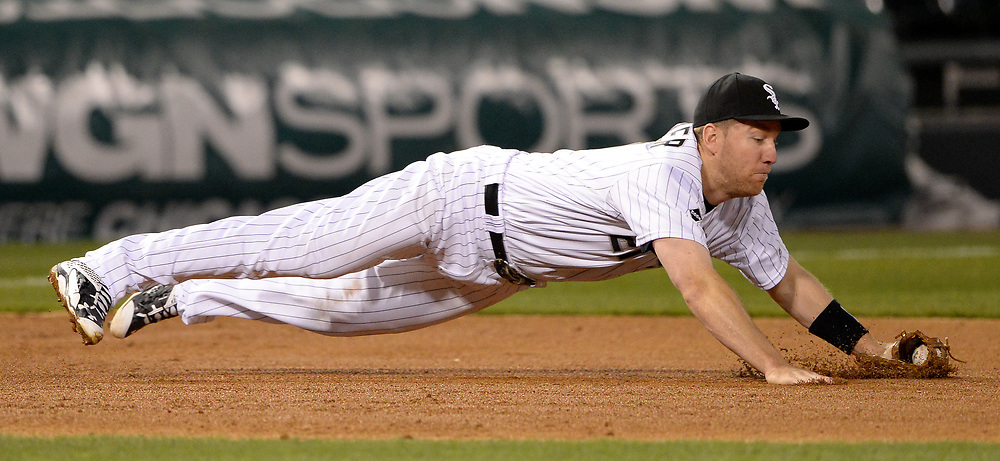 CHICAGO - APRIL 18:  Todd Frazier #21 of the Chicago White Sox fields  against the Los Angeles Angels on April 18, 2016 at U.S. Cellular Field in Chicago, Illinois.   (Photo by Ron Vesely)