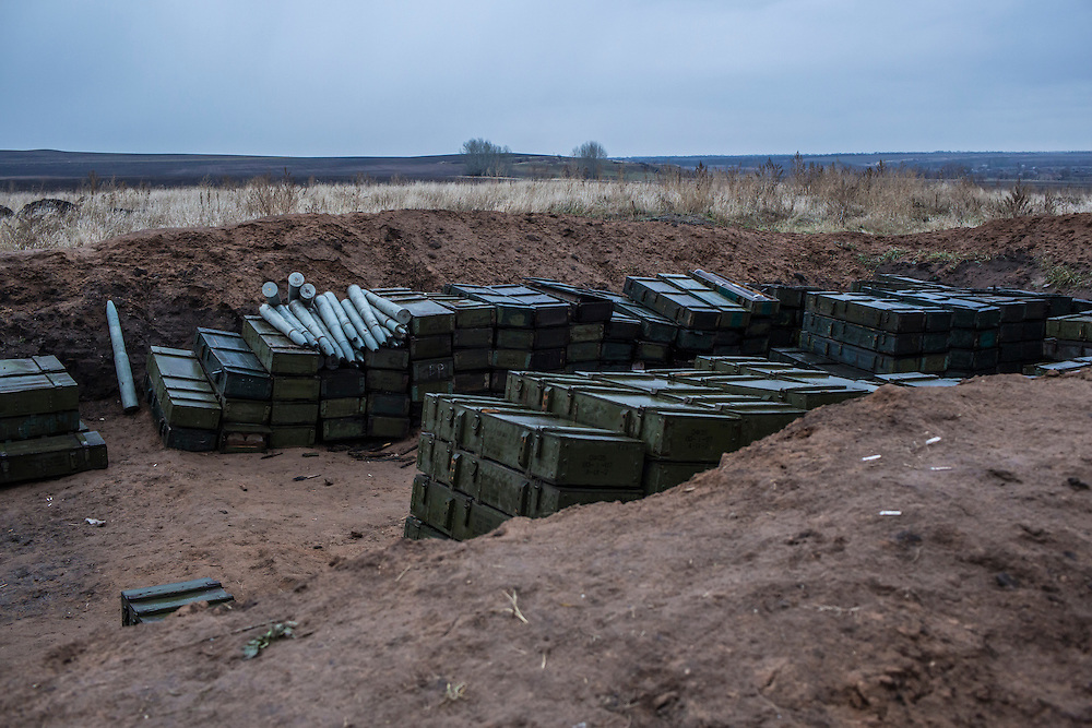 A Ukrainian army artillery cache on Monday, December 14, 2015 near Slovyansk, Ukraine.