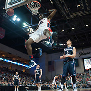 Sam Dower Jr. dunks in the men's WCC Tournament Final. (Austin Ilg, Gonzaga Bulletin)