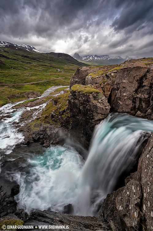Berufjarðará river and waterfall in East-Iceland.