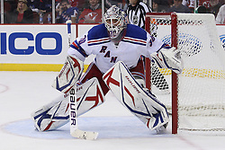 Mar 25, 2010; Newark, NJ, USA; New York Rangers goalie Henrik Lundqvist (30) during the first period of their game against the New Jersey Devils at the Prudential Center.