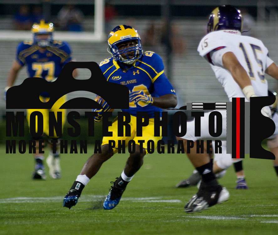 Delaware Running Back David Hayes (28) carries the ball for 33 yards to WCU 12 and a first down during a Week 1 NCAA football game against West Chester. ..#15 Delaware defeated West Chester 41-21 in their home opener at Delaware Stadium Thursday Aug. 30, 2012 in Newark Delaware...Delaware will return home Sept. 8, 2012 at 3:30pm for a showdown with interstate Rival Delaware State in the Route 1 Rivalry Bowl at Delaware Stadium.