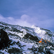 A tent sits perched at Camp V on the North Ridge of Mount Everest, Tibet, China.