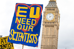 © Licensed to London News Pictures. 22/04/2017. London, UK. A pro-European Union placard in Parliament Square at  the March for Science in which thousands of scientists and science enthusiasts protested to raise awareness of the importance of scientific discovery and integrity. Scientific research and innovation is one of the areas expected to be hit hardest by Britain's exit from the EU. Photo credit: Rob Pinney/LNP