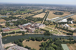 Image &copy;Licensed to i-Images Picture Agency. Aerial views. United Kingdom.<br /> Hampton Court and  golf course. Picture by i-Images