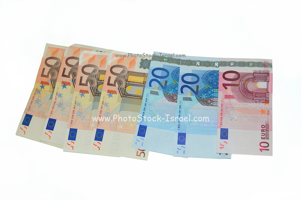 Euro banknotes On white Background