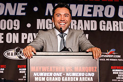 May 19, 2009; New York, NY, USA; Oscar De La Hoya speaks at the press conference announcing the upcoming fight between Floyd Mayweather Jr. and Juan Manuel Marquez.  The two will meet on July 18, 2009 at the MGM Grand Garden Arena in Las Vegas, NV.
