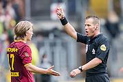 BREDA - NAC Breda - Roda JC , Rat Verlegh stadion , Voetbal , Finale play-offs , seizoen 2014/2105 , 31-05-2015 , Roda JC speler Henk Dijkhuizen (l) krijgt geel van Scheidsrechter Danny Makkelie (r)