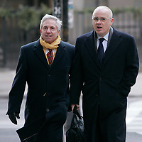 Boston, Massachusetts, USA - January 5, 2011: Former Anglo Irish Bank CEO, David Drumm, right, and his lawyer Stewart Grossman, head to Drumm's bankruptcy deposition at an office building in downtown Boston.  Photo by Matthew Healey