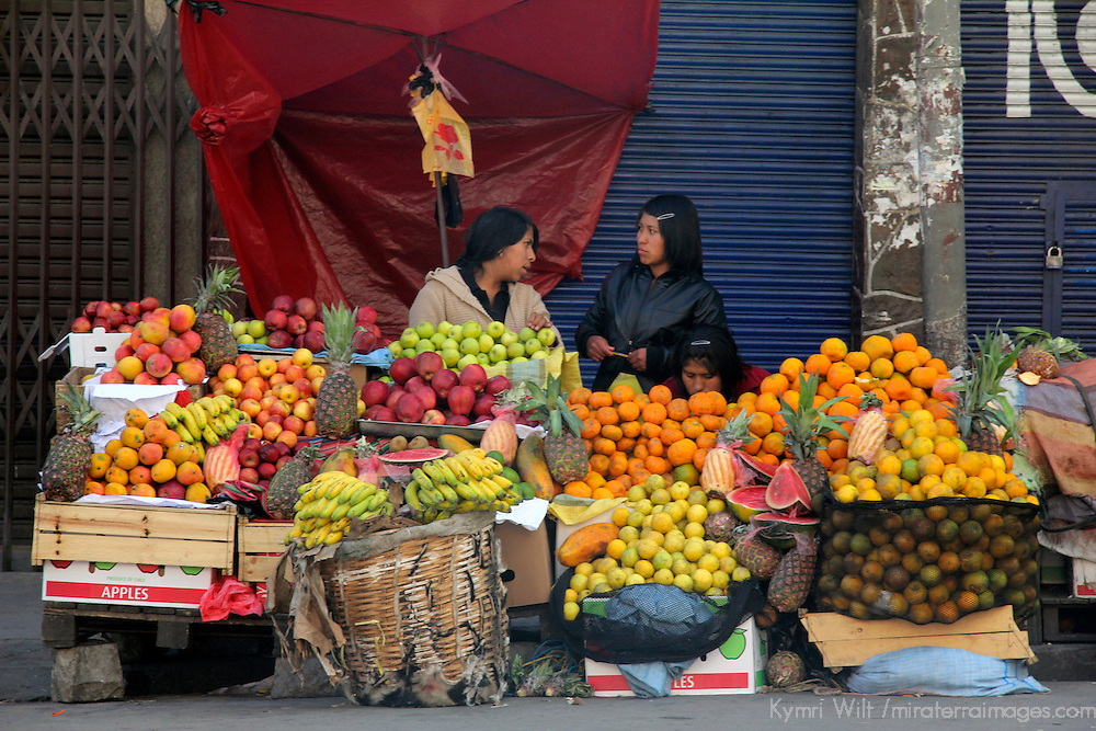 South America, Bolivia, La Paz. Fruit vendor.