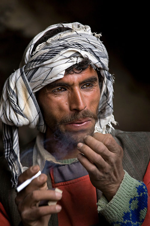 Emerald miners work in tunnels often dug up to 100 meters into the hillsides high in the mountains of the Panjshir, Afghanistan on the 15th December 2008.