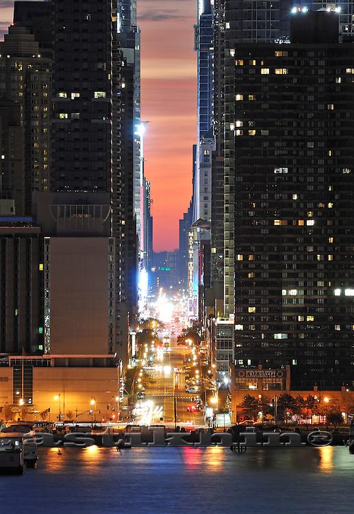 42nd Street at night, Manhattan, New York.